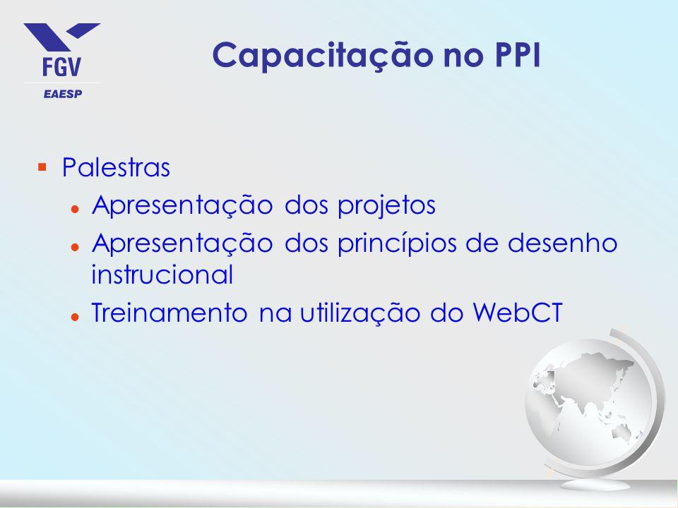 Capacitação no PPI §Palestras l Apresentação dos projetos l Apresentação dos princípios de desenho instrucional l Treinamento na utilização do WebCT