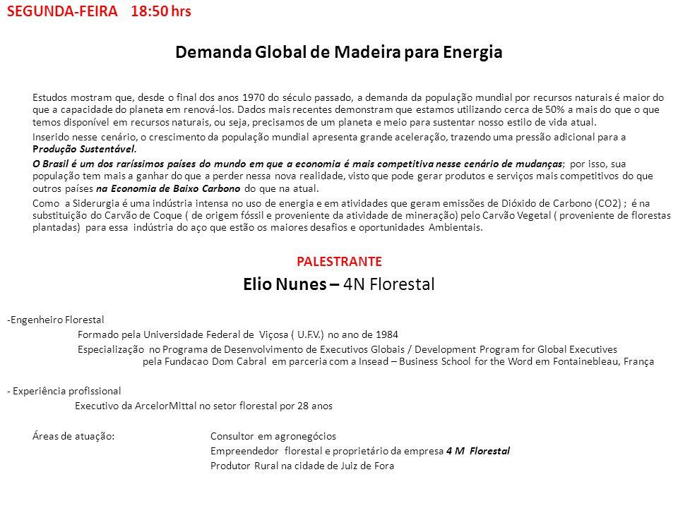 SEGUNDA-FEIRA 18:50 hrs Demanda Global de Madeira para Energia Estudos mostram que, desde o final dos anos 1970 do século passado, a demanda da popula