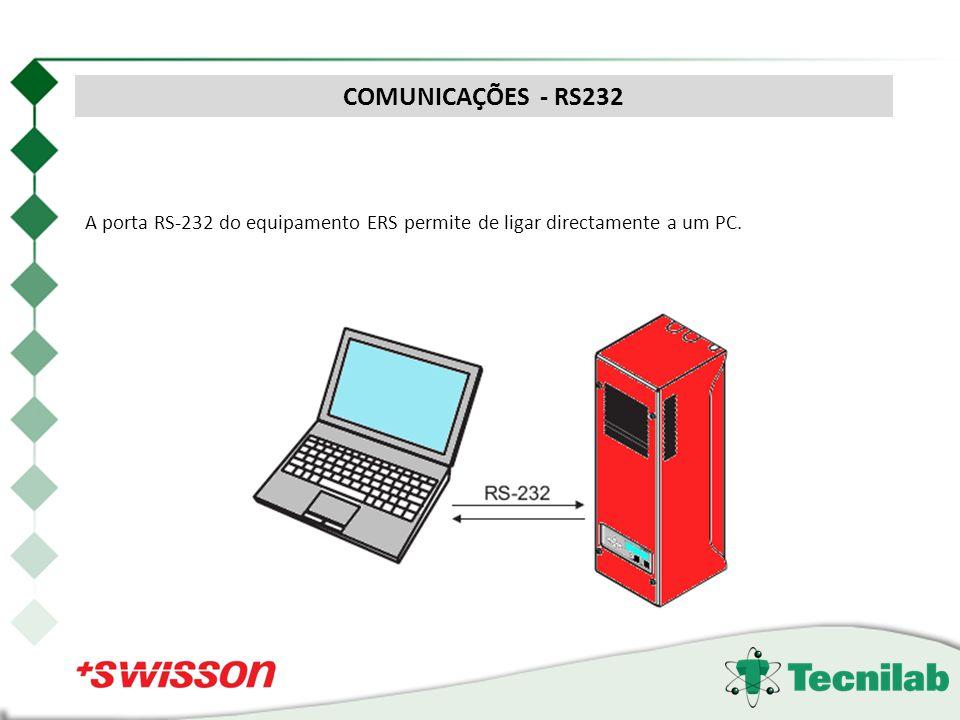 A porta RS-232 do equipamento ERS permite de ligar directamente a um PC. COMUNICAÇÕES - RS232