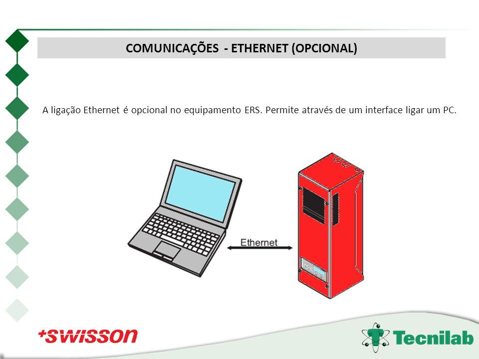 A ligação Ethernet é opcional no equipamento ERS. Permite através de um interface ligar um PC. COMUNICAÇÕES - ETHERNET (OPCIONAL)