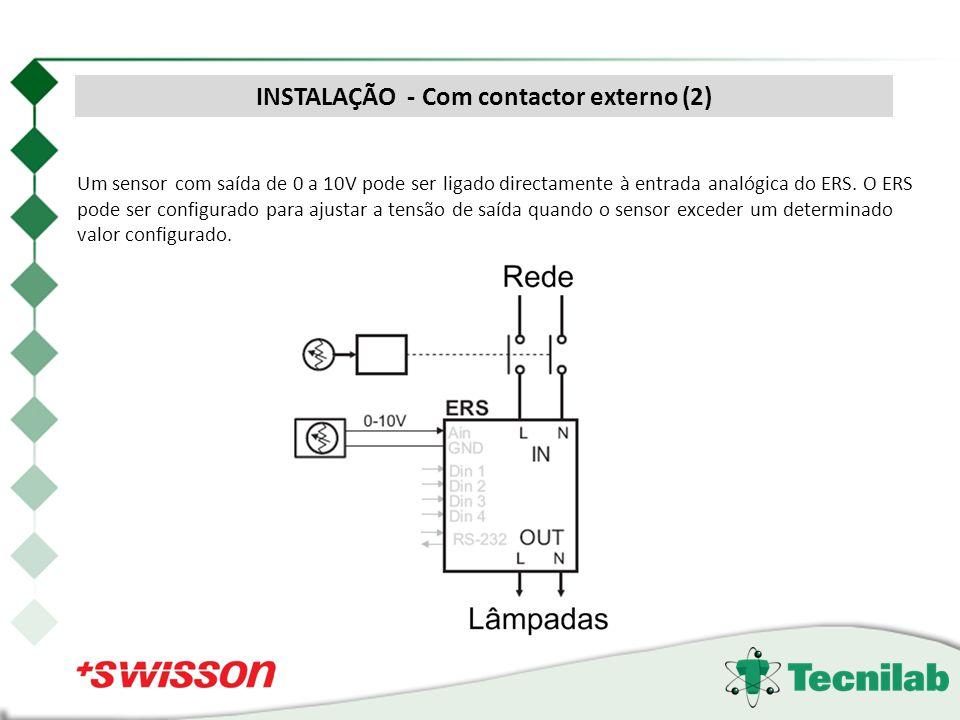 Um sensor com saída de 0 a 10V pode ser ligado directamente à entrada analógica do ERS. O ERS pode ser configurado para ajustar a tensão de saída quan