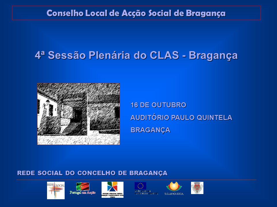 Conselho Local de Acção Social de Bragança REDE SOCIAL DO CONCELHO DE BRAGANÇA 4ª Sessão Plenária do CLAS - Bragança 16 DE OUTUBRO AUDITÓRIO PAULO QUINTELA BRAGANÇA