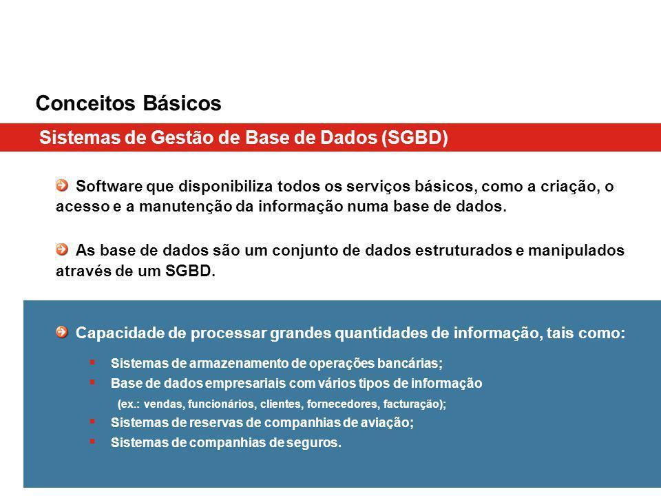 Conceitos Básicos Sistemas de Gestão de Base de Dados (SGBD) Software que disponibiliza todos os serviços básicos, como a criação, o acesso e a manute