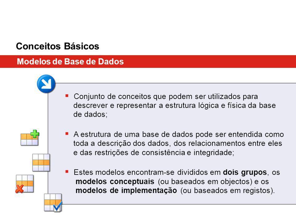 Conceitos Básicos Modelos de Base de Dados Conjunto de conceitos que podem ser utilizados para descrever e representar a estrutura lógica e física da base de dados; A estrutura de uma base de dados pode ser entendida como toda a descrição dos dados, dos relacionamentos entre eles e das restrições de consistência e integridade; Estes modelos encontram-se divididos em dois grupos, os modelos conceptuais (ou baseados em objectos) e os modelos de implementação (ou baseados em registos).
