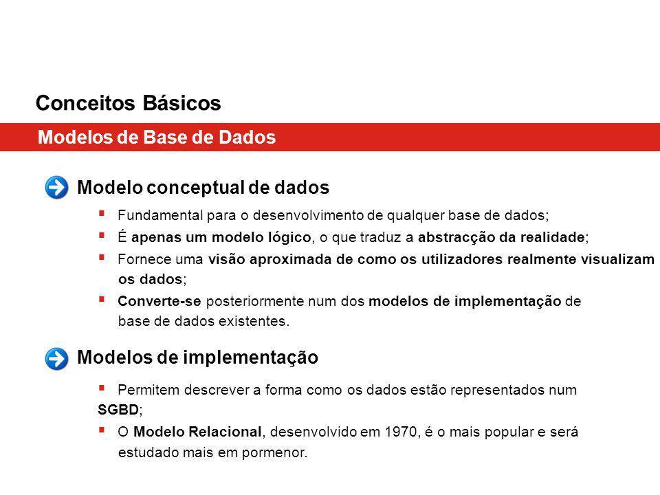 Conceitos Básicos Modelos de Base de Dados Fundamental para o desenvolvimento de qualquer base de dados; É apenas um modelo lógico, o que traduz a abstracção da realidade; Fornece uma visão aproximada de como os utilizadores realmente visualizam os dados; Converte-se posteriormente num dos modelos de implementação de base de dados existentes.