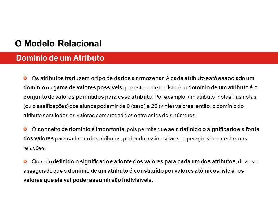 Domínio de um Atributo O Modelo Relacional Os atributos traduzem o tipo de dados a armazenar. A cada atributo está associado um domínio ou gama de val