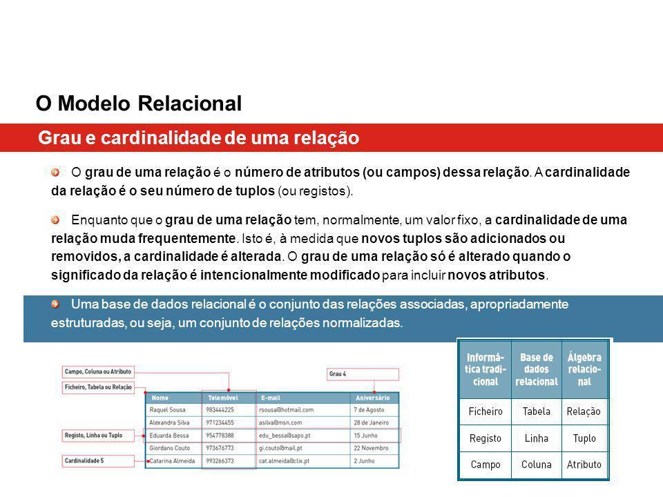 Grau e cardinalidade de uma relação O Modelo Relacional O grau de uma relação é o número de atributos (ou campos) dessa relação. A cardinalidade da re