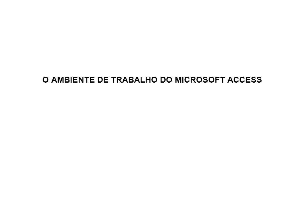 O AMBIENTE DE TRABALHO DO MICROSOFT ACCESS