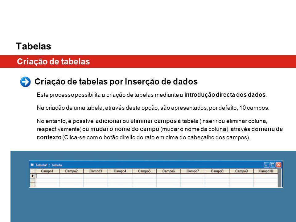 Tabelas Criação de tabelas Criação de tabelas por Inserção de dados Este processo possibilita a criação de tabelas mediante a introdução directa dos dados.