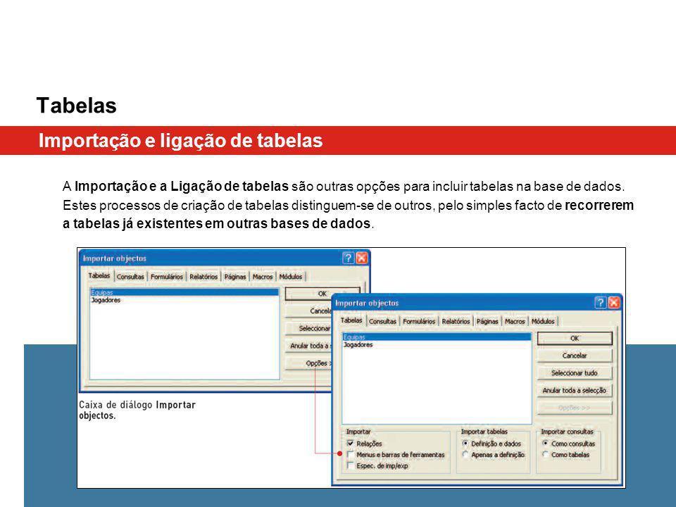 Tabelas Importação e ligação de tabelas A Importação e a Ligação de tabelas são outras opções para incluir tabelas na base de dados. Estes processos d