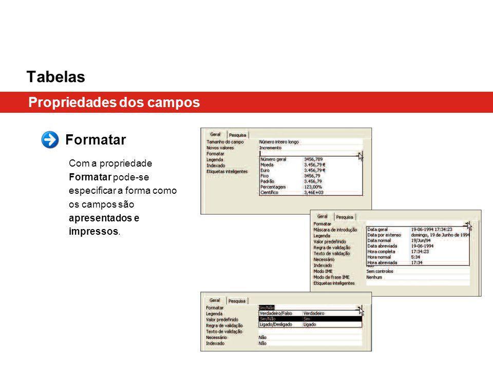 Tabelas Propriedades dos campos Formatar Com a propriedade Formatar pode-se especificar a forma como os campos são apresentados e impressos.