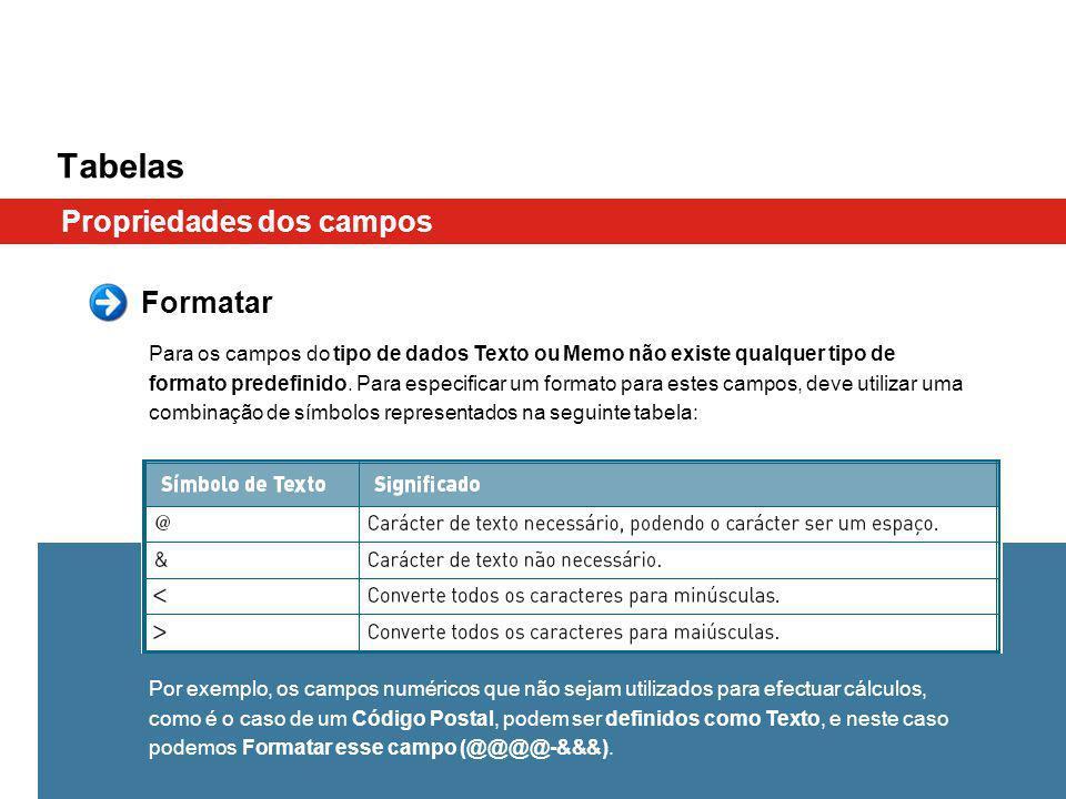 Tabelas Propriedades dos campos Formatar Para os campos do tipo de dados Texto ou Memo não existe qualquer tipo de formato predefinido. Para especific