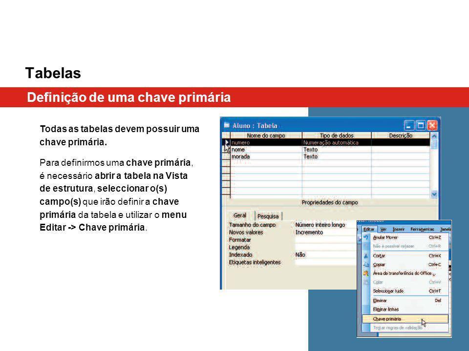 Tabelas Definição de uma chave primária Todas as tabelas devem possuir uma chave primária.