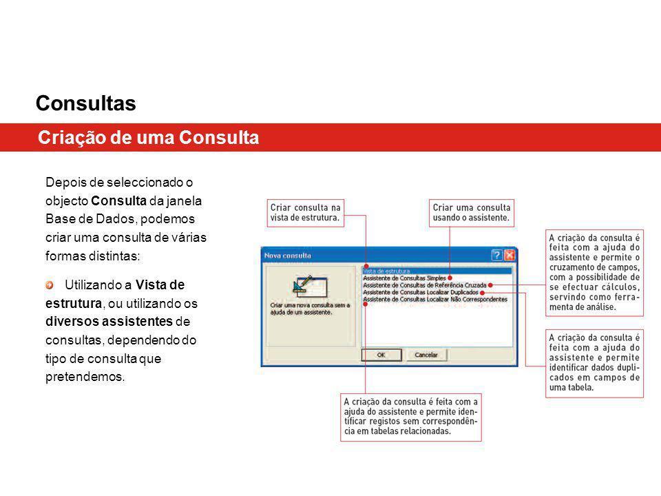 Consultas Criação de uma Consulta Depois de seleccionado o objecto Consulta da janela Base de Dados, podemos criar uma consulta de várias formas disti