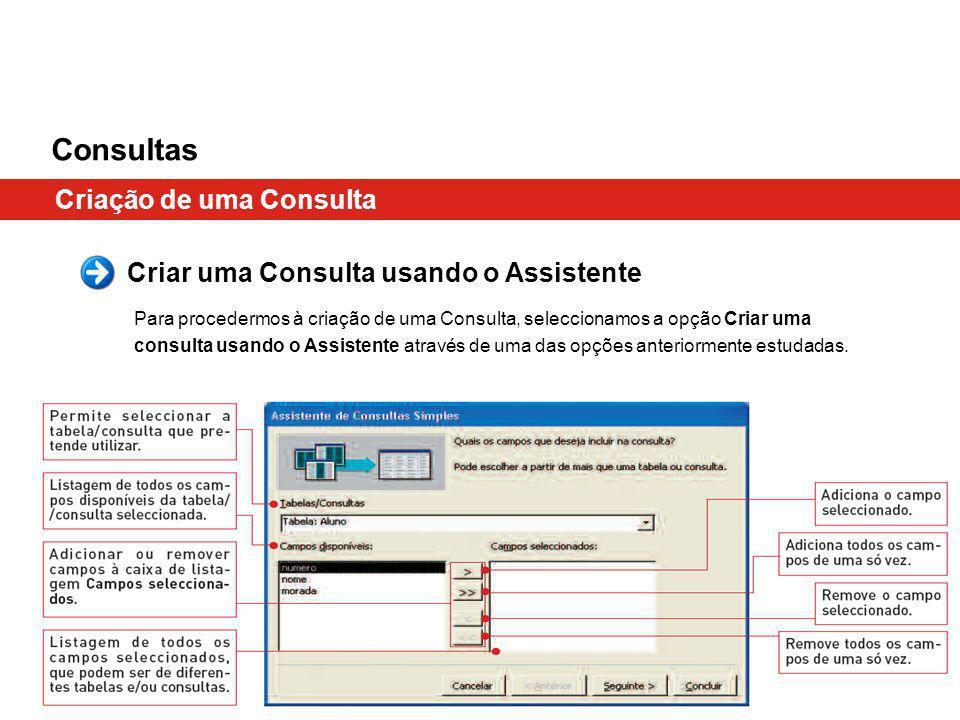 Consultas Criação de uma Consulta Criar uma Consulta usando o Assistente Para procedermos à criação de uma Consulta, seleccionamos a opção Criar uma consulta usando o Assistente através de uma das opções anteriormente estudadas.