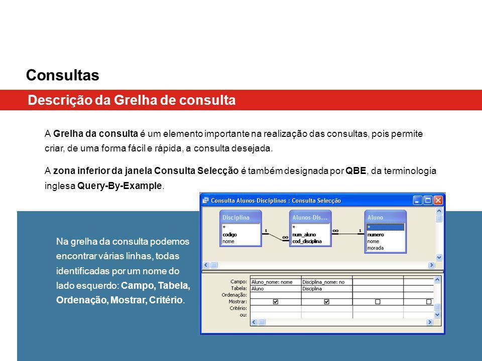 Consultas A Grelha da consulta é um elemento importante na realização das consultas, pois permite criar, de uma forma fácil e rápida, a consulta desejada.