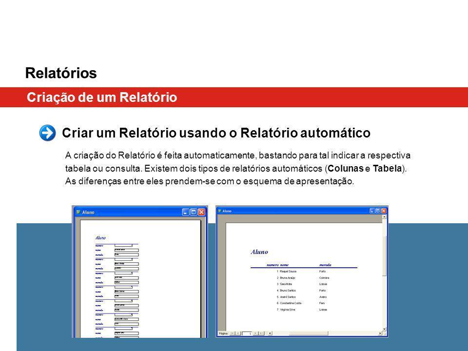 Relatórios Criação de um Relatório Criar um Relatório usando o Relatório automático A criação do Relatório é feita automaticamente, bastando para tal indicar a respectiva tabela ou consulta.