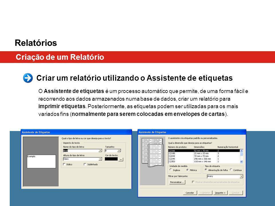 Relatórios Criação de um Relatório O Assistente de etiquetas é um processo automático que permite, de uma forma fácil e recorrendo aos dados armazenad