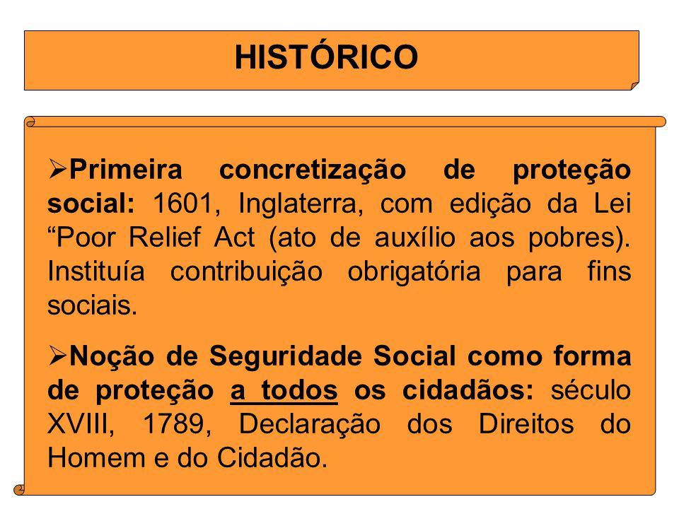 HISTÓRICO Primeira concretização de proteção social: 1601, Inglaterra, com edição da Lei Poor Relief Act (ato de auxílio aos pobres).