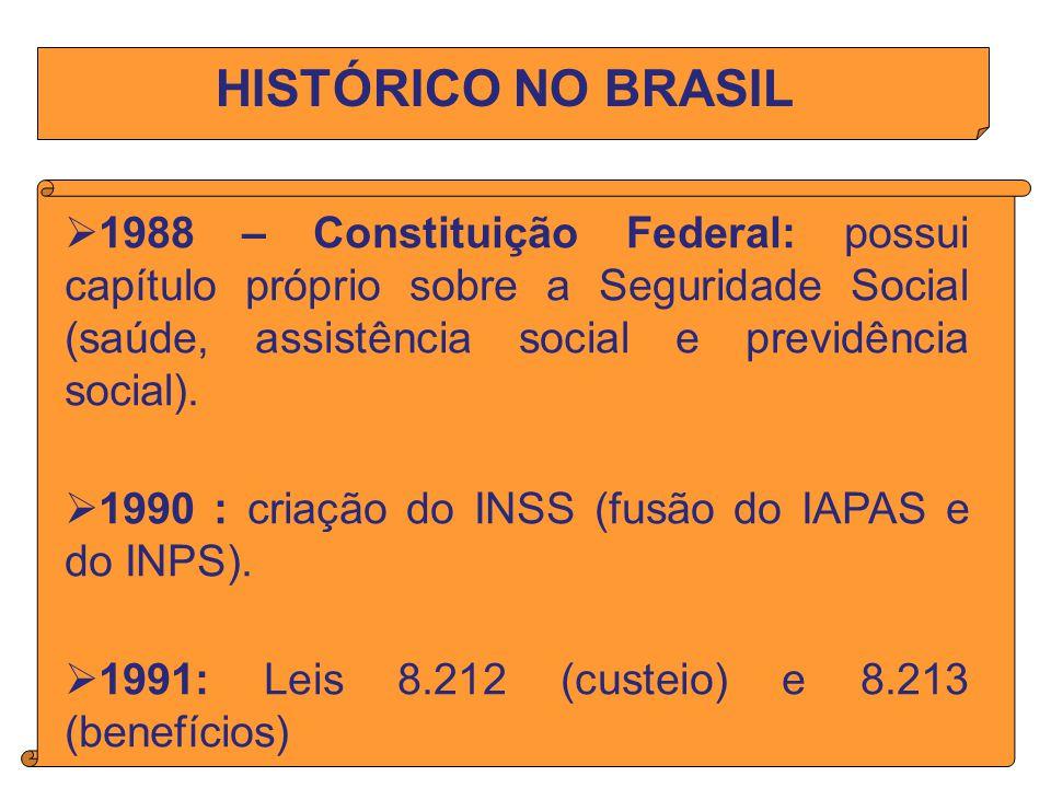 HISTÓRICO NO BRASIL 1988 – Constituição Federal: possui capítulo próprio sobre a Seguridade Social (saúde, assistência social e previdência social).