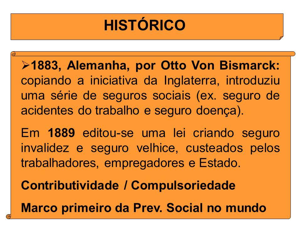 HISTÓRICO 1883, Alemanha, por Otto Von Bismarck: copiando a iniciativa da Inglaterra, introduziu uma série de seguros sociais (ex.