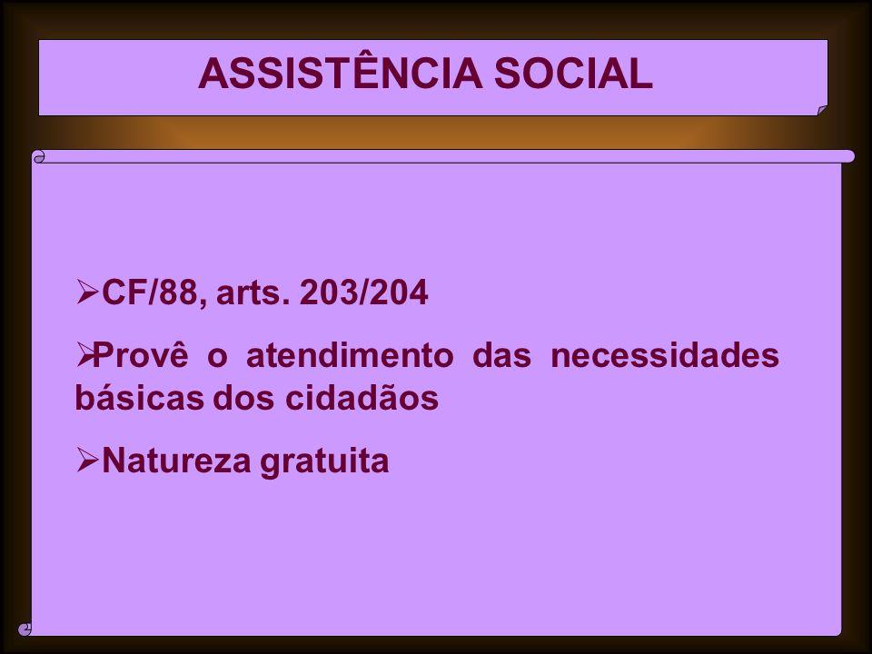 ASSISTÊNCIA SOCIAL CF/88, arts.