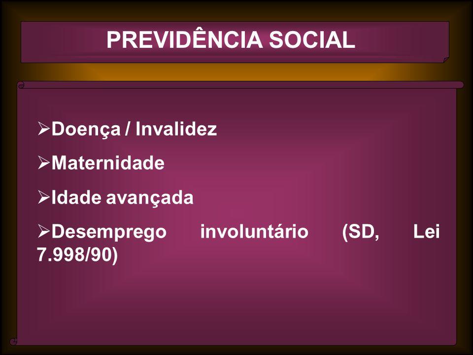 PREVIDÊNCIA SOCIAL Doença / Invalidez Maternidade Idade avançada Desemprego involuntário (SD, Lei 7.998/90)