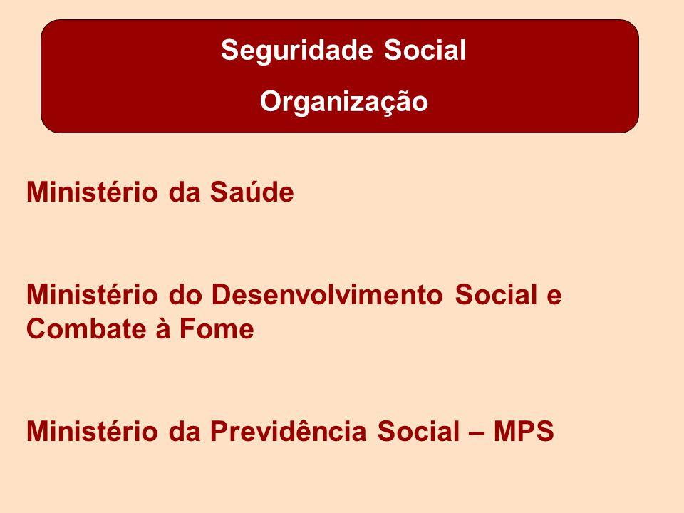 Seguridade Social Organização Ministério da Saúde Ministério do Desenvolvimento Social e Combate à Fome Ministério da Previdência Social – MPS