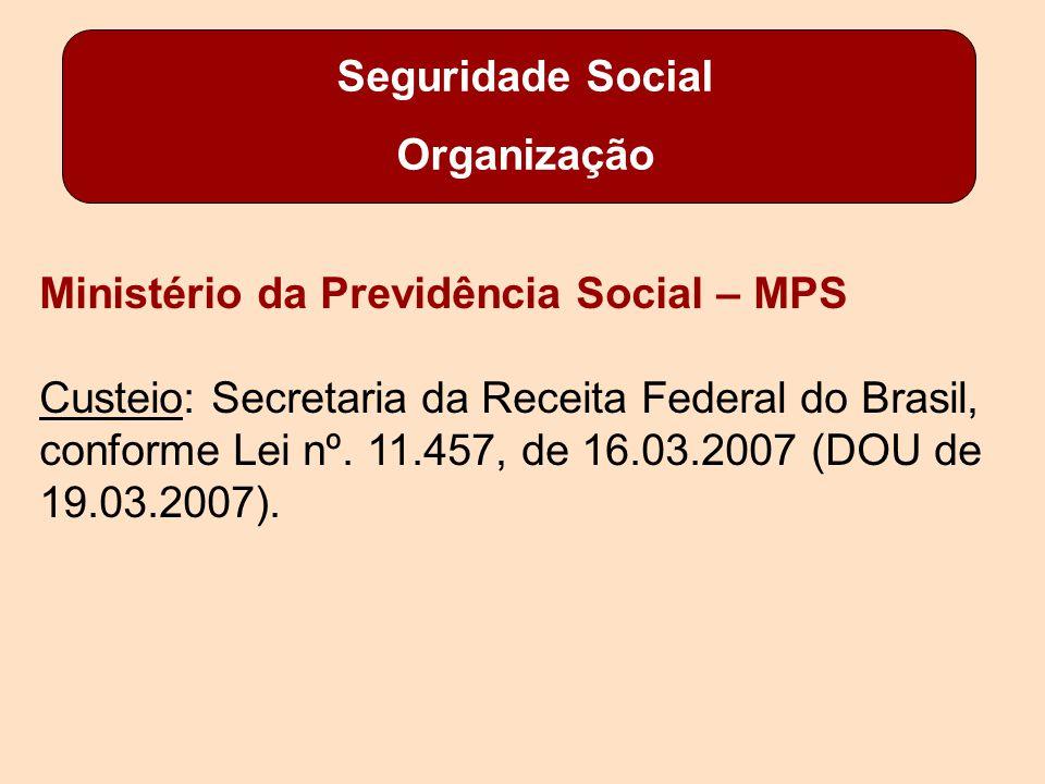Seguridade Social Organização Ministério da Previdência Social – MPS Custeio: Secretaria da Receita Federal do Brasil, conforme Lei nº.