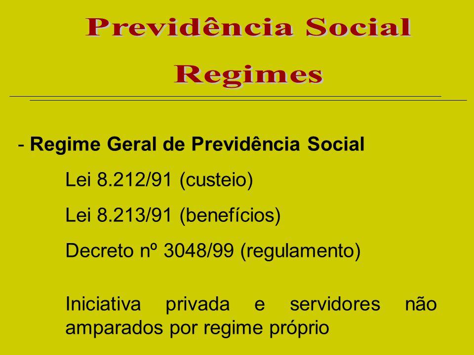 - Regime Geral de Previdência Social Lei 8.212/91 (custeio) Lei 8.213/91 (benefícios) Decreto nº 3048/99 (regulamento) Iniciativa privada e servidores não amparados por regime próprio