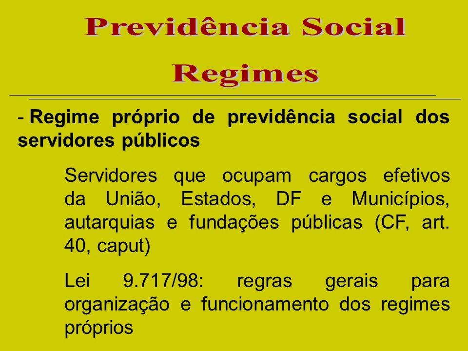 - Regime próprio de previdência social dos servidores públicos Servidores que ocupam cargos efetivos da União, Estados, DF e Municípios, autarquias e fundações públicas (CF, art.