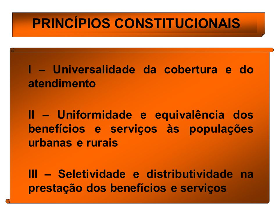 PRINCÍPIOS CONSTITUCIONAIS I – Universalidade da cobertura e do atendimento II – Uniformidade e equivalência dos benefícios e serviços às populações urbanas e rurais III – Seletividade e distributividade na prestação dos benefícios e serviços