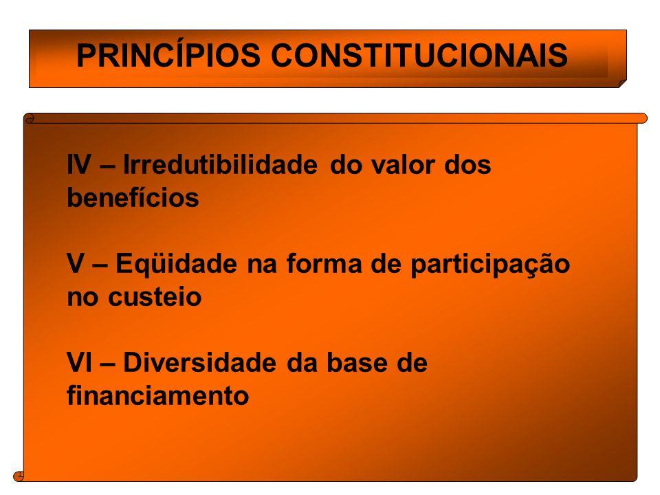 PRINCÍPIOS CONSTITUCIONAIS IV – Irredutibilidade do valor dos benefícios V – Eqüidade na forma de participação no custeio VI – Diversidade da base de financiamento