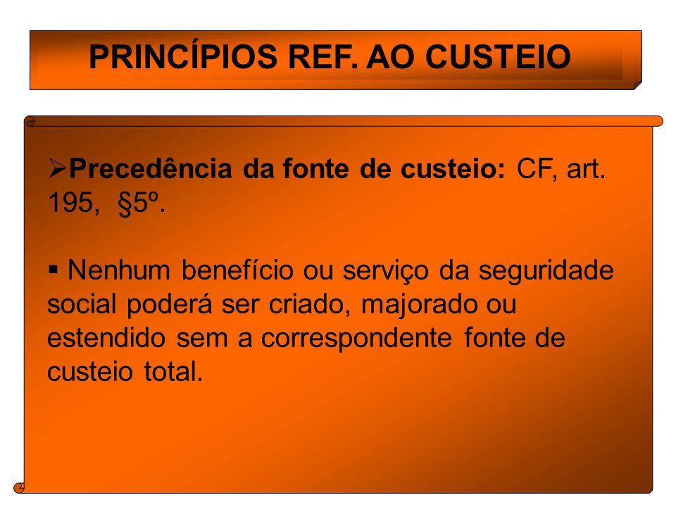PRINCÍPIOS REF.AO CUSTEIO Precedência da fonte de custeio: CF, art.