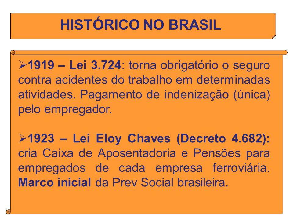 HISTÓRICO NO BRASIL 1919 – Lei 3.724: torna obrigatório o seguro contra acidentes do trabalho em determinadas atividades.