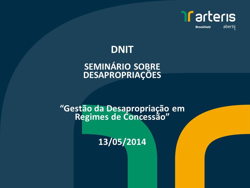 A Arteris é uma das maiores companhias do setor de concessões de rodovias no Brasil 9 concessões (Cinco rodovias federais em SC, PR, SP, MG e RJ, além de quatro rodovias estaduais em São Paulo) 3.250 km administrados Aproximadamente 20% do total de quilômetros das rodovias em concessão 2 2 2 Arteris