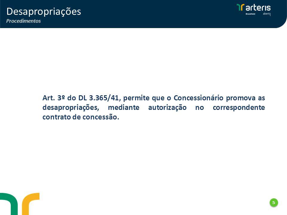 5 5 Desapropriações Procedimentos Art. 3º do DL 3.365/41, permite que o Concessionário promova as desapropriações, mediante autorização no corresponde