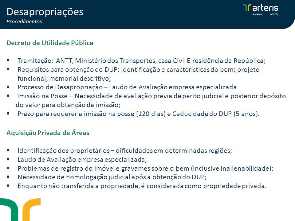 Decreto de Utilidade Pública Tramitação: ANTT, Ministério dos Transportes, casa Civil E residência da República; Requisitos para obtenção do DUP: iden