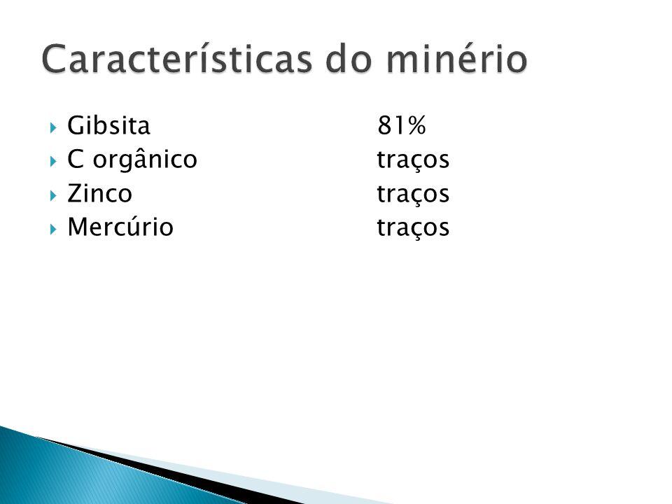 Gibsita81% C orgânicotraços Zincotraços Mercúriotraços
