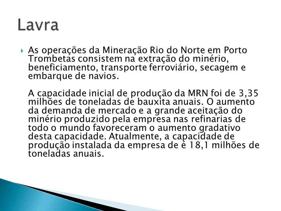 As operações da Mineração Rio do Norte em Porto Trombetas consistem na extração do minério, beneficiamento, transporte ferroviário, secagem e embarque