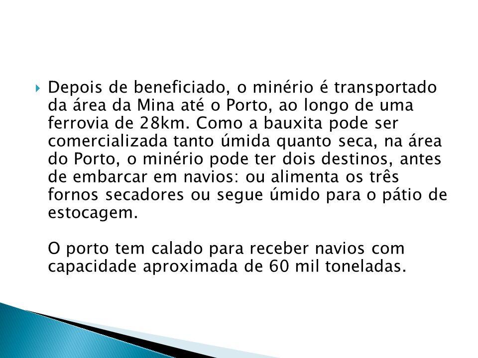 Depois de beneficiado, o minério é transportado da área da Mina até o Porto, ao longo de uma ferrovia de 28km. Como a bauxita pode ser comercializada