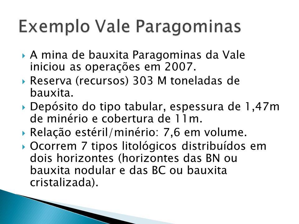A mina de bauxita Paragominas da Vale iniciou as operações em 2007. Reserva (recursos) 303 M toneladas de bauxita. Depósito do tipo tabular, espessura