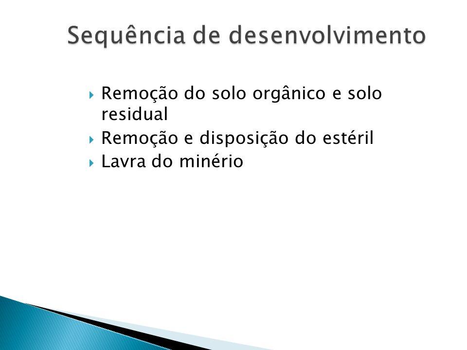 Remoção do solo orgânico e solo residual Remoção e disposição do estéril Lavra do minério