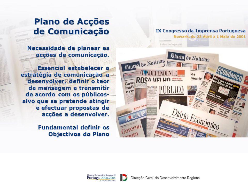 Direcção-Geral do Desenvolvimento Regional IX Congresso da Imprensa Portuguesa Newark, de 25 Abril a 1 Maio de 2001 Plano de Acções de Comunicação Necessidade de planear as acções de comunicação.