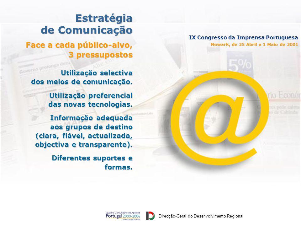 Direcção-Geral do Desenvolvimento Regional IX Congresso da Imprensa Portuguesa Newark, de 25 Abril a 1 Maio de 2001 Utilização selectiva dos meios de comunicação.