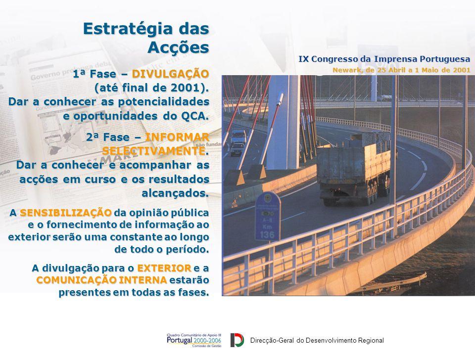 Direcção-Geral do Desenvolvimento Regional IX Congresso da Imprensa Portuguesa Newark, de 25 Abril a 1 Maio de 2001 1ª Fase – DIVULGAÇÃO (até final de 2001).