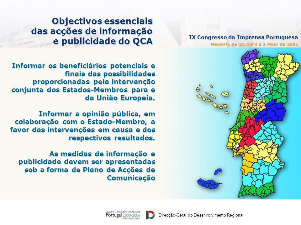 Direcção-Geral do Desenvolvimento Regional IX Congresso da Imprensa Portuguesa Newark, de 25 Abril a 1 Maio de 2001 Objectivos essenciais das acções de informação e publicidade do QCA Informar os beneficiários potenciais e finais das possibilidades proporcionadas pela intervenção conjunta dos Estados-Membros para e da União Europeia.