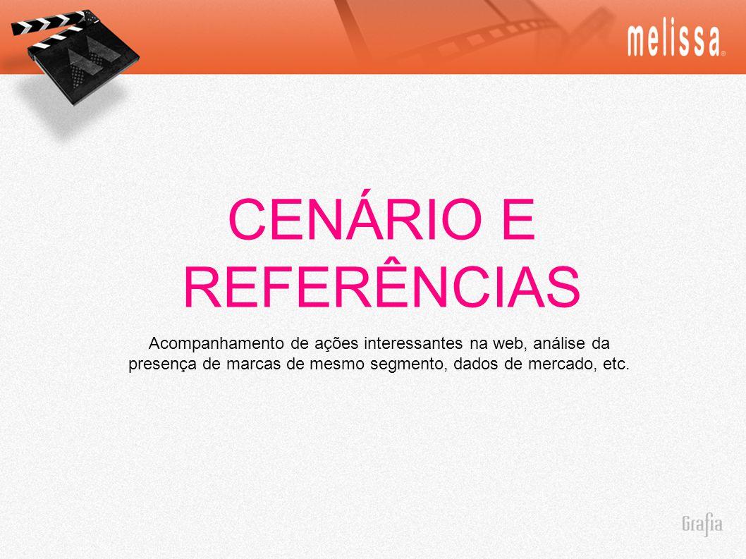 CENÁRIO E REFERÊNCIAS Acompanhamento de ações interessantes na web, análise da presença de marcas de mesmo segmento, dados de mercado, etc.