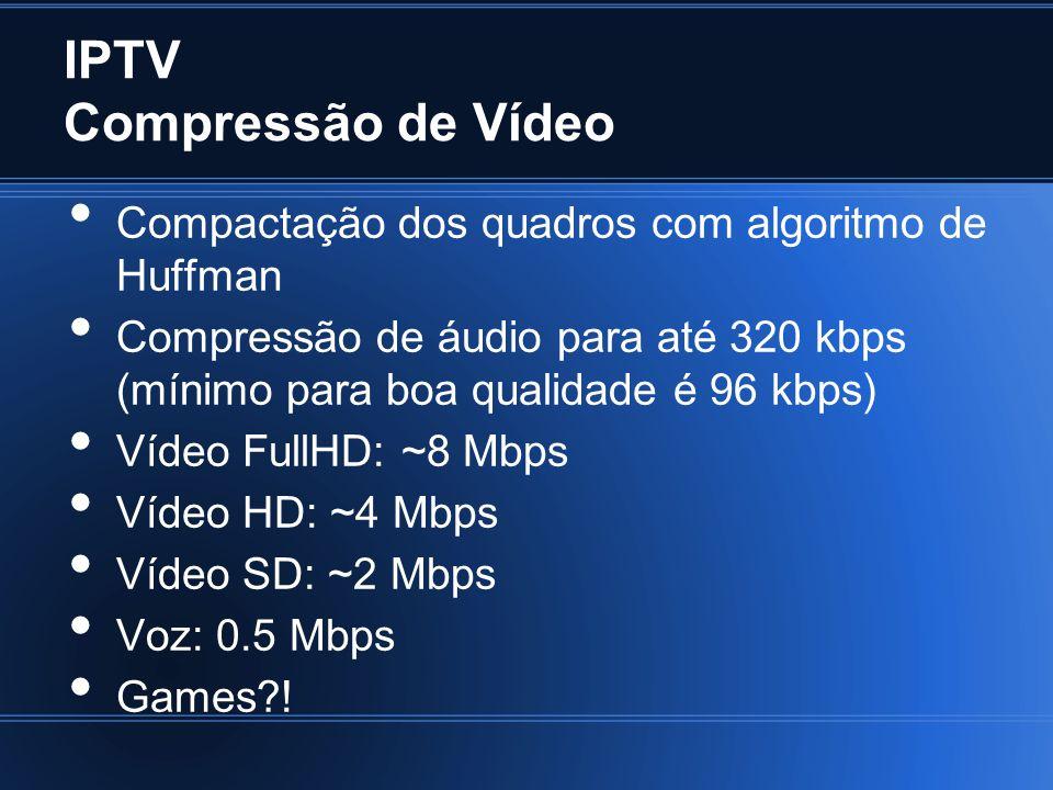 IPTV Compressão de Vídeo Compactação dos quadros com algoritmo de Huffman Compressão de áudio para até 320 kbps (mínimo para boa qualidade é 96 kbps)