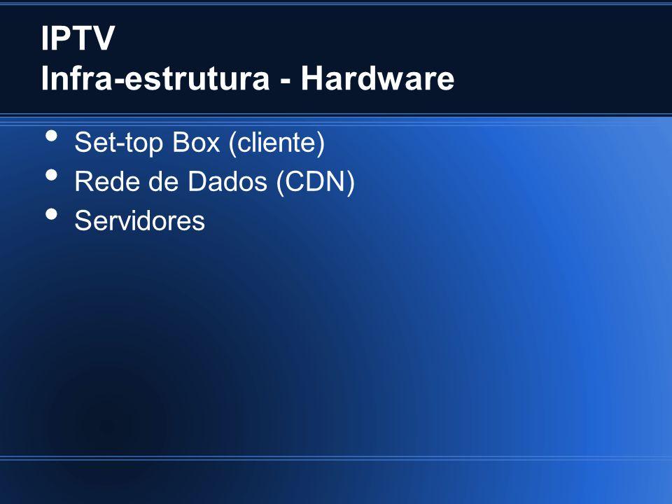IPTV Infra-estrutura - Hardware Set-top Box (cliente) Rede de Dados (CDN) Servidores